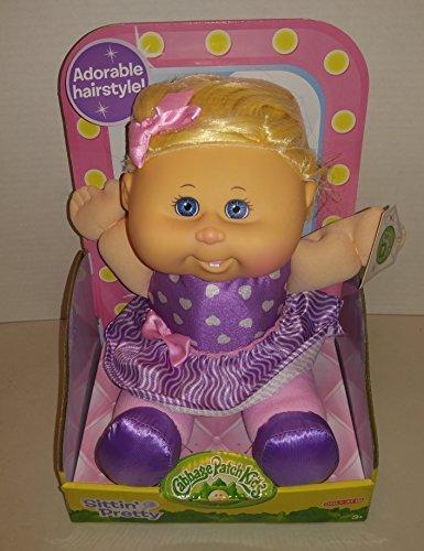 Cabbage Patch Kids Sittin Pretty Doll Blonde Hair/Blue Eyes - Purple Hearts Dress & Hairnet (Purple Heart Patch)