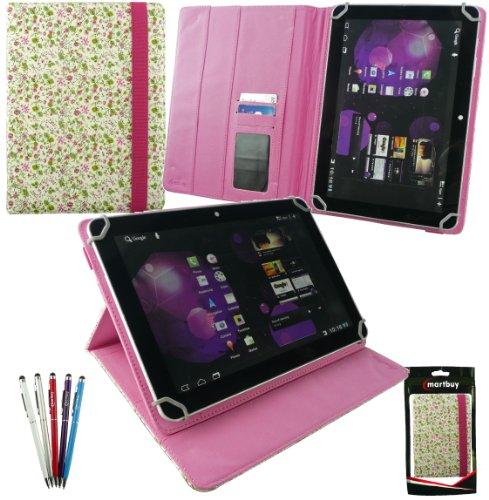 emartbuy Packet Mit 5 Kugelschreiber 2 in 1 Eingabestift +Universalbereich Floral Rosa/Grün Folio Wallet Hülle Schutzhülle Cover mit Kartensteckplätze geeignet für Odys Iron 9.7 Zoll Tablet