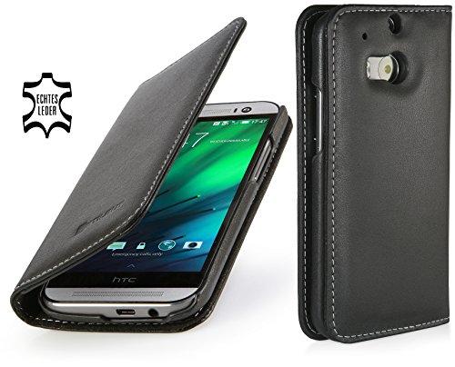 StilGut Talis Schutz-Hülle für HTC One M8 mit Kreditkarten-Fächern aus echtem Leder. Seitlich aufklappbares Flip Case in Handarbeit gefertigt für HTC One M8, Schwarz Nappa - ohne Magnet