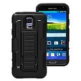 mobilefox® 360° Outdoor Hybrid Schutz Hülle Panzer Case Gürtel Display Cover für Samsung Galaxy S5