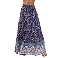 GAGA Women's Bohemian Floral Printed Elastic Waist Skirt A Line Long Maxi Skirts Blue S