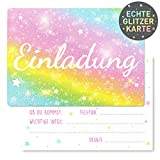NEU 15 x Regenbogen Glitzer Einladungskarten Geburtstag Kinder - Größe A6 - Coole Einladung zum Kindergeburtstag für Mädchen und Jungen - Witzige Einladungskarte - Glitzerlack