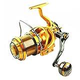 Gimitunus Spinning Angelrolle mit Double Drag Brake System Baitrunner Rolle 10 + 1 Edelstahl Links Rechts Austauschbar Griff für Salzwasser Süßwasser Fanggerät Verhältnis 5,1: 1 (Größe : 6000)