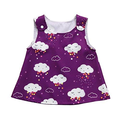 Sommerkleider Baby, Longra Baby Kleider Mädchen Kleider Ärmellos Tanktops Tankshirts T-shirt-Kleid mit Wolken Gemusterte Kleider Baby Trägerkleid Sun Kleider Kleidung Outfits (Purple, 70CM 6Monate)