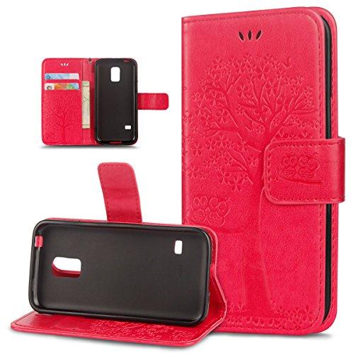 ikasus Coque Galaxy S5 mini Etui Motif relief d'arbre deux hiboux Cuir PU Housse Etui Coque Portefeuille supporter Carte de crédit Poches Flip Case Etui Housse Coque pour Galaxy S5 mini,Rouge