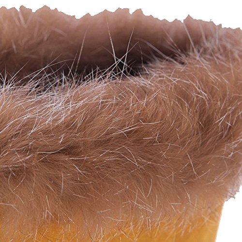 AgooLar Femme à Talon Correct Couleur Unie Rond Lacet Bottes avec Nœuds Fleur Jaune