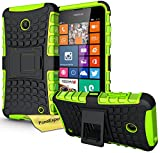 Nokia Lumia 630 635 Handy Tasche, FoneExpert® Hülle Abdeckung Cover schutzhülle Tough Strong Rugged Shock Proof Heavy Duty Case für Nokia Lumia 630 635 + Displayschutzfolie (Grün)