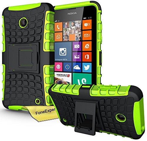 FoneExpert® Nokia Lumia 630 635 - Etui Housse Coque ShockProof Robuste Impact Armure Hybride Béquille Cover pour Nokia Lumia 630 635 + Film de Protection d'Ecran (Vert)