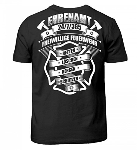 Hochwertiges Kinder T-Shirt - Ehrenamt 24/7/365 Freiwillige Feuerwehr - Feuerwehrmann Feuerwehrfrau Feuerwehrleute FFW 112 Geschenk (Mädchen Feuerwehrleute)
