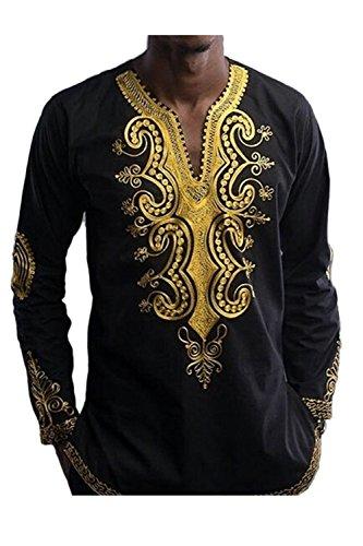 Hombres Camiseta De Manga Larga De Dashiki African Tribal Floral Hip Hop Tops Black XS