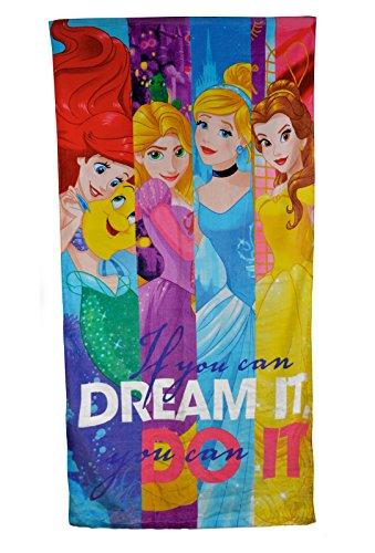 Disney - Toalla de baño, diseño con princesas de Disney, 100% algodón, talla única, Talla única