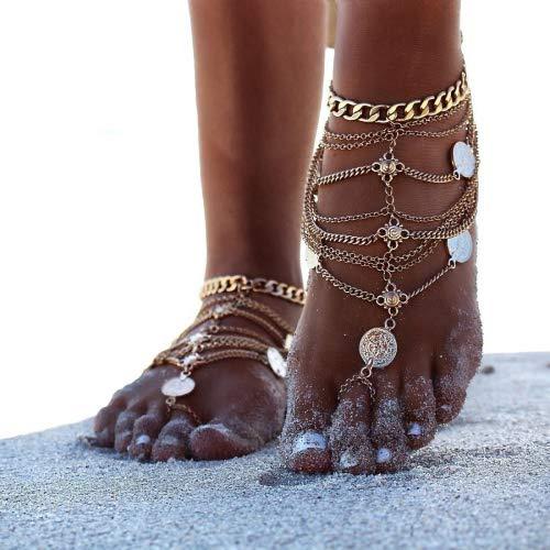 Catene cavigliere Boho epoca d'oro della moneta Benedizione Simbolo della nappa del piede 1 paio (Oro)