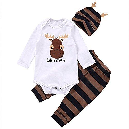 Chocolife Ropa Larga de los Equipos del Mameluco 3PCS de la Manga de la Navidad de los Muchachos de los bebés