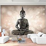 Fototapete Buddha 396 x 280 cm Vlies Wand Tapete Wohnzimmer Schlafzimmer Büro Flur Dekoration Wandbilder XXL Moderne Wanddeko - 100% MADE IN GERMANY - Feng Shui Runa Tapeten 9085012a