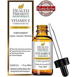 100% natürliches und organisches Vitamin E Öl für Gesicht und Haut - 15.000 / 30.000 IE - Reduziert Falten, hellt dunkle Flecken auf und verleiht Ihrer Haut ein jugendliches Aussehen.