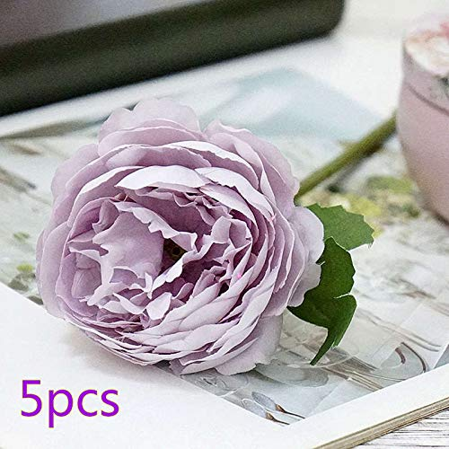 Artificial Dried Flowers - 5pcs Artificial Tea Rose Flower Real Touch Silk Fake Bouquet Supply Home Garden Decoration Xmas - Dried Flowers Artificial
