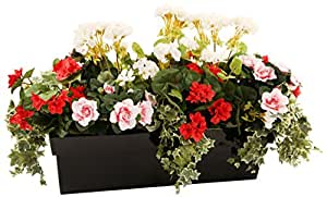 Closer to Nature artificiale Rosso Begonia, Bianco geranio, rosa Azalea e Variegato Ivy Display in un nero basalto 60 centimetri Trough Planter - Artificial Bedding Plug Impianti e Gamma display