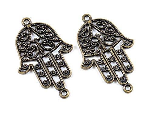 Verbinder als Hamsa Hand in antik bronzefarben 4 Stück von Vintageparts DIY Schmuck Schmuckverbinder