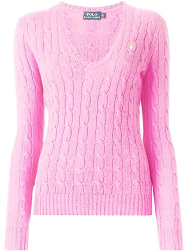 Ralph Lauren Cable Knit V-Neck Kimberly Damen Pullover rosa (Pale Pink) M (Pink Cable Knit)