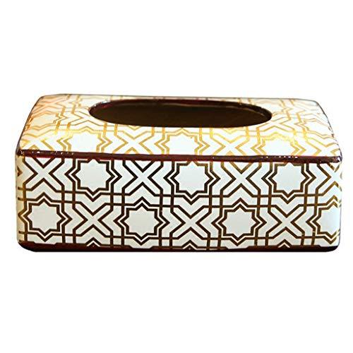 SHA_TANQ Keramik Tissue Box Cover Halter für Wohnzimmer Schlafzimmer, Kaffeetisch Serviettenschale/Weiß / 25cm×13cm×9cm (Keramik Tissue Box Cover)