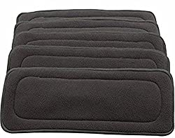 Ole Baby 5 Layers Bamboo Charcoal Cloth Super Water Absorbent Washable Reusable Insert Lining For Cloth Diapers Pack Of 3.