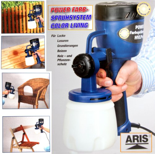 ARIS ® Power Farbsprühsytem *Color Living * 400Watt | Tank 0,8Liter | Für Lacke |Lasuren | Grundierung (Power-gartengeräte)