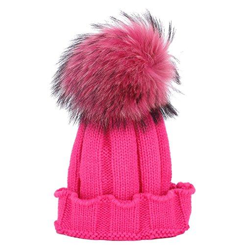 TININNA Chapeau Bonnet Tricotés en Laine Artiste Francais Automne Hiver Chaud Hat Cap pour Bébé Rose Rouge