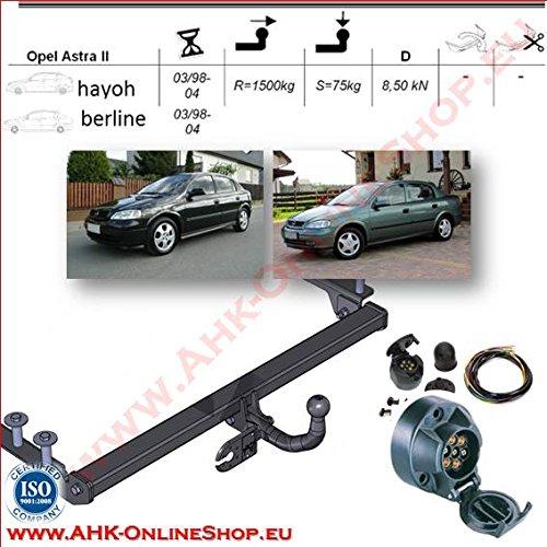 AHK Anhängerkupplung mit Elektrosatz 7 polig für Opel Astra II G 1998-2004 Stufenheck Schrägheck Anhängevorrichtung Hängevorrichtung - starr, mit angeschraubtem Kugelkopf