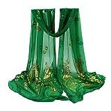 Châle de fleur de femmes,KEERADS Madame multicolore Peacock Long Wrap étole douce Pashmina foulard (vert)