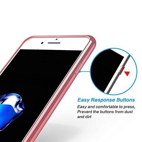 [2 Stück] OMOTON Schutzhülle für das iPhone 7 Plus (5.5 zoll), [Air Cushion TPU][wackelt nicht][Anti-Kratz], transparente Hülle in schwarz rose gold