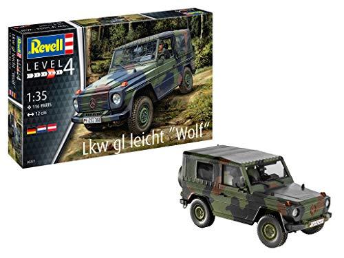 Revell 03277 LKW gl leicht Wolf originalgetreuer Modellbausatz für Fortgeschrittene, Mehrfarbig, 1/35 (Panzer Modell Weltkrieg Ein)