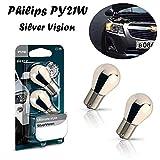 2x Philips PY21W 12V BAU15s 12496SVB2 Silver Vision Ultimate Style Blinker vorne hinten Seitenblinker Ersatz Halogen Auto Lampe E-geprüft