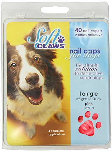 Canine Soft Claws Dog and Cat Nail Caps Take Home Kit, Large, Pink by Soft Claws Cat Claw Caps Pink