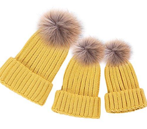 Eltern-Kind-Hut, Mutter & Baby Tochter / Sohn Winter Warm Knit Hat Family Cap (3PCS) (Hat Krempe Kirche)