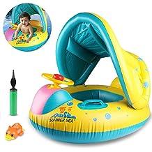 Joylink Flotador Anillo de Natación, Bebé Swim Ring Inflable Piscina Flotador Bebé Juguete con Toldo