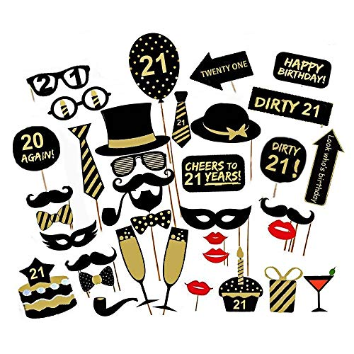 Jinxuny 16/18/21/30/40/50/60. 36 stücke Lustige Geburtstagsfeier DIY Photo Booth Requisiten Parteibevorzugung Dekor für Geburtstagsfeierdekorationen (Style : 21st)