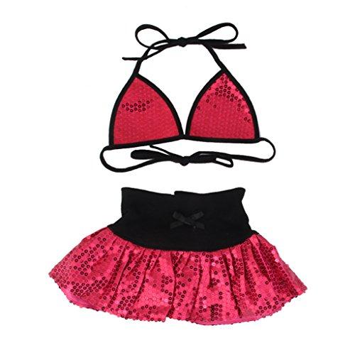 Maillot de Bain Bikini Bling Robe de Plage Eté Vacances pour Chiot Petit Chien Rose Foncé XL