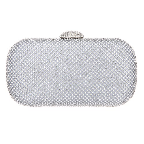 Bonjanvye Bling Baguette Purse Hard Case Crystal Rhinestone Clutch Bag Black silver