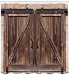 Abakuhaus Rústico Cortina de Baño, Puerta de Madera en Casa de Piedra Granja Imagen Vintage Diseño Rural Arte Arquitectura, Material Resistente al Agua Durable Estampa Digital, 175 x 200 cm, Beige