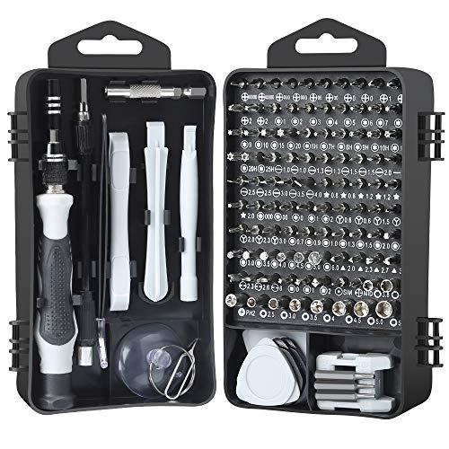 E·Durable Juego de destornilladores,122 en 1 Kit de herramienta de reparación magnético para iPhone X, 8, 7 / portátil/PC/reloj/consola de juegos/Mini HERRAMIENTAS de reparación de trabajo manual DIY