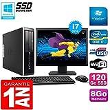 HP PC Compaq Pro 6300 SFF I7-3770 8Go 120Go SSD Graveur DVD WiFi W7 Ecran 17'