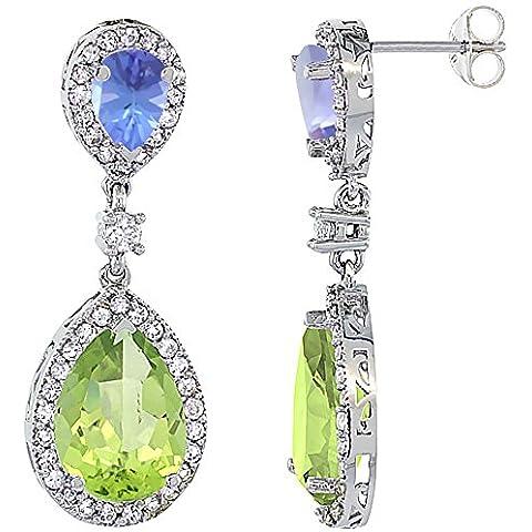 Con peridoto, oro bianco 14 k con Tanzanite & &-Orecchini a goccia con zaffiro e diamanti, colore: bianco - 14k Oro Bianco Tanzanite Goccia