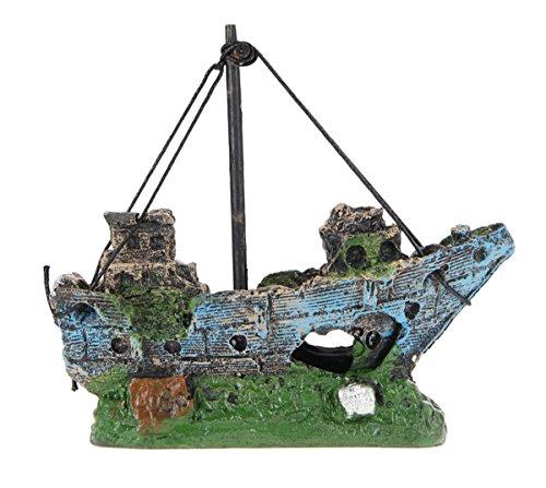 Ahatech Aquarium Ornamente Wrack Segelboot versenkten Schiff Dekor