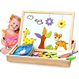 Alytimes Magnetic Puzzle Wooden Animal Travel Easel Dry Erase Chalkboard Toy for Kids Imagination