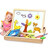 Alytimes Magnetic Puzzle Wooden Animal Travel Easel Dry Erase Chalkboard Toy for Kids