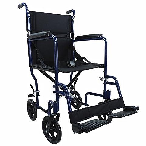 Ability Superstore Compact léger en aluminium pour fauteuil roulant de transport, Bleu