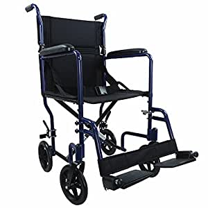 Ability Superstore Compact Lightweight Aluminium Transport Wheelchair, Blue