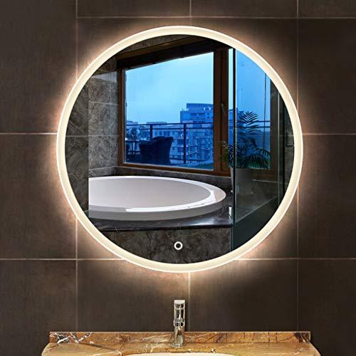 CUI XIA UK- Espejo con Luz LED para Baño, Redondo Sin Marco con Espejo De Pared con Luz - Espejo Inteligente...