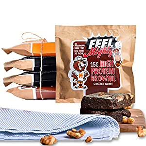 Feel Mighty High Protein Brownies- Pack of 5 High Fiber, Sugar-Free Brownies- 2 Dark Chocolate Fudge, 2 Chocolate Walnut & 1 Peanut Butter Flavours