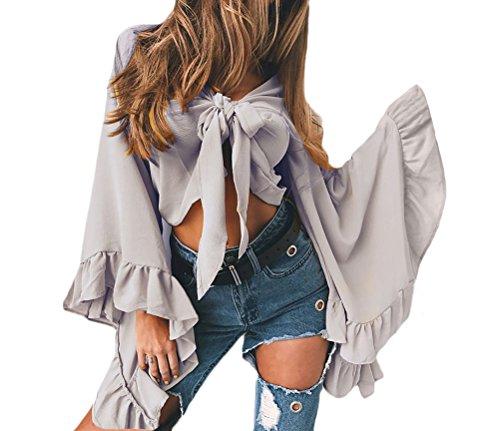 Camicia Donna Elegante Chiffon Manica Lunga Maniche Tromba Con Volant Corta Cravatta A Farfalla Vintage Estiva Unique Camicie Blusa Crop Top Grigio